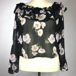 NWT Off the Shoulder Long Sleeve Black Blouse.
